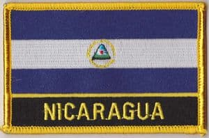 Nicaragua Embroidered Flag Patch, style 09.