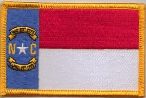 North Carolina Embroidered Flag Patch, style 08.