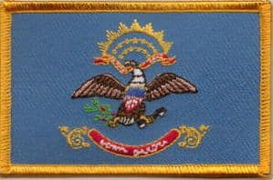 North Dakota Embroidered Flag Patch, style 08.