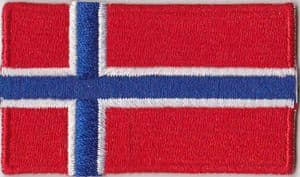 Norway Embroidered Flag Patch, style 04.