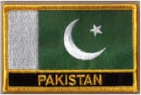 Pakistan Embroidered Flag Patch, style 09.