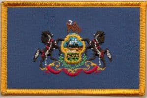 Pennsylvania Embroidered Flag Patch, style 08.