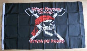 Pirate What Happens On Board Stays On Board Large Flag - 5' x 3'.