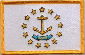 Rhode Island Embroidered Flag Patch, style 08.