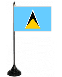 St. Lucia Desk / Table Flag with plastic stand and base.