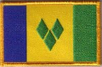 St. Vincent Embroidered Flag Patch, style 08.