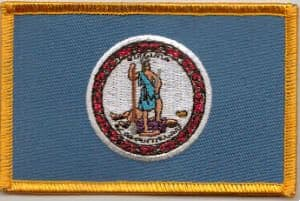 Virginia Embroidered Flag Patch, style 08.