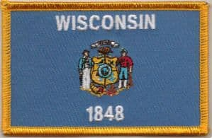Wisconsin Embroidered Flag Patch, style 08.