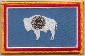Wyoming Embroidered Flag Patch, style 08.