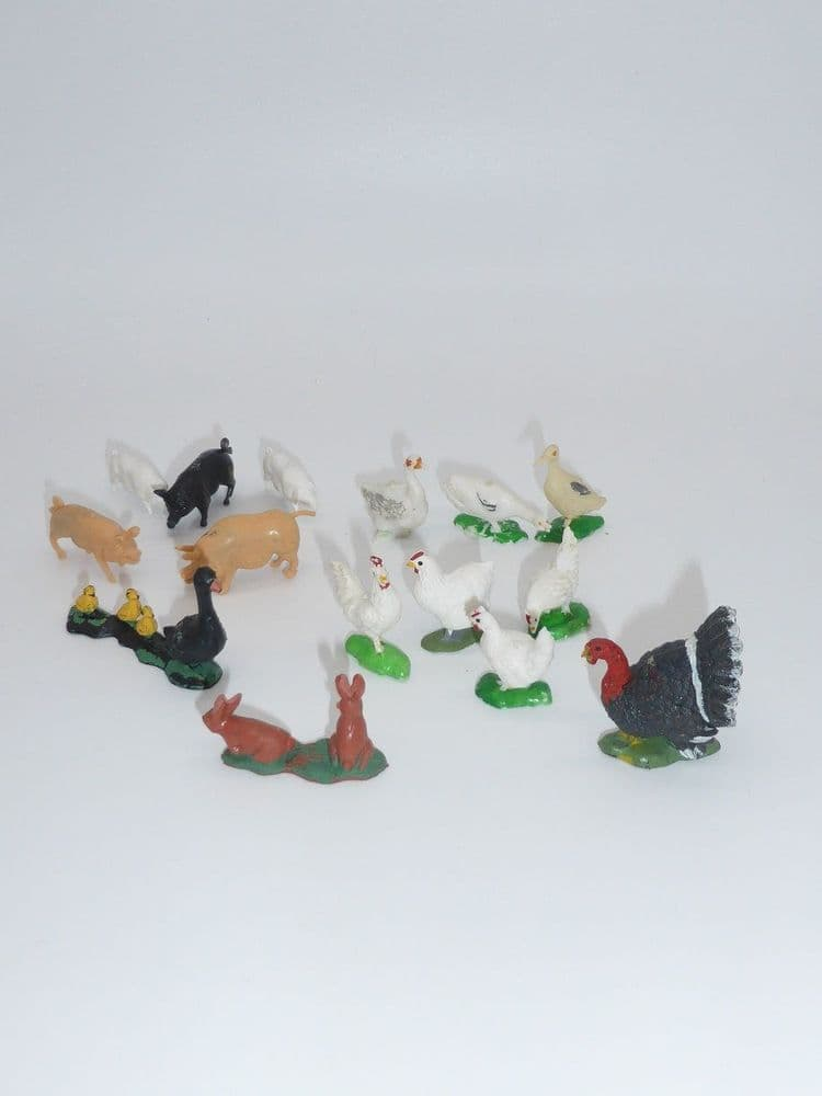 Britains Vintage Plastic Turkey and assorted  other animals of unknown makers