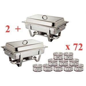 2 x Chafers & 72 Gel Fuel Tins