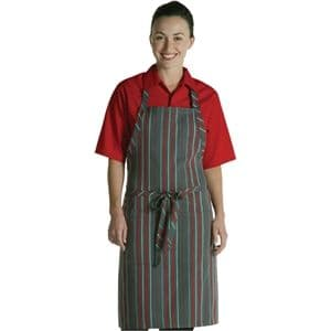 Bib Apron Red & Grey Stripe