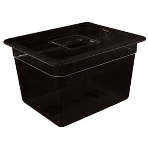 Black Polycarbonate Gastronorm Container 1/4 Size 150mm deep