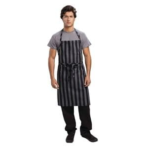 Chesapeake Wide Stripe Bib Apron Black