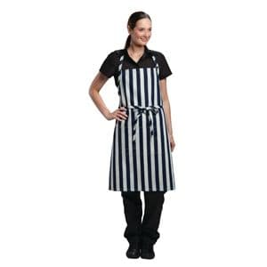 Chesapeake Wide Stripe Bib Apron Blue