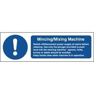 Mincing Mixing Machine Safety Sign