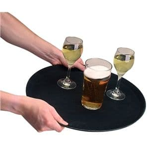 Trays: Anti Slip Tray Round Plastic 11""