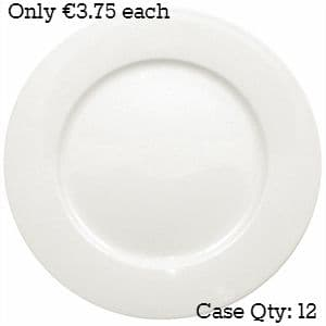 White Porcelain Plate Wide Rimmed 10""
