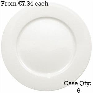 White Porcelain Plate Wide Rimmed 12""