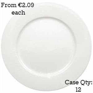 White Porcelain Plate Wide Rimmed 6.5""