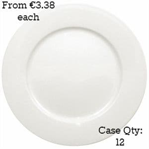 White Porcelain Plate Wide Rimmed 9""