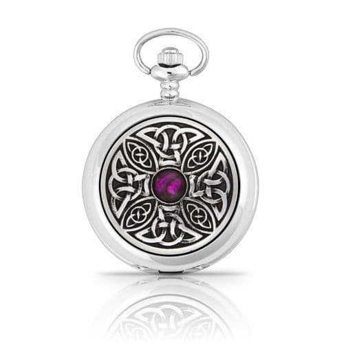 Celtic Knot With Stone Mechanical Pocket Watch