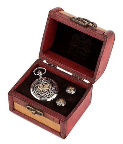 Celtic Welsh Dragon Watch and Cufflinks in Trunk