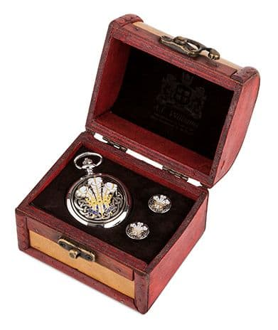 Enamelled Feathers Watch and Cufflinks in Trunk
