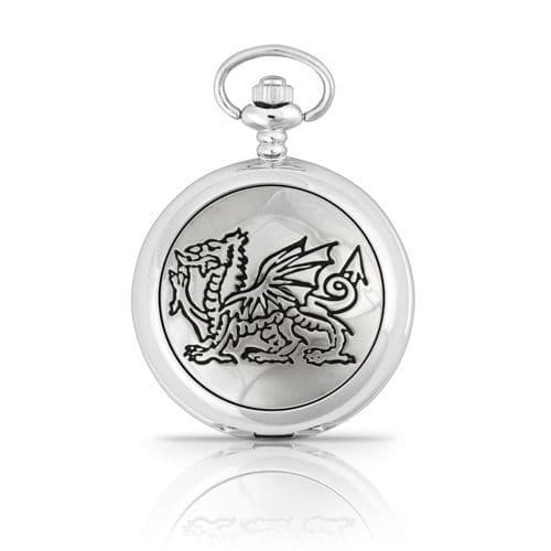 Engraved Welsh Dragon Mechanical Pocket Watch