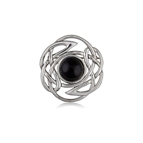 Interlace Knot With Stone Pewter Brooch