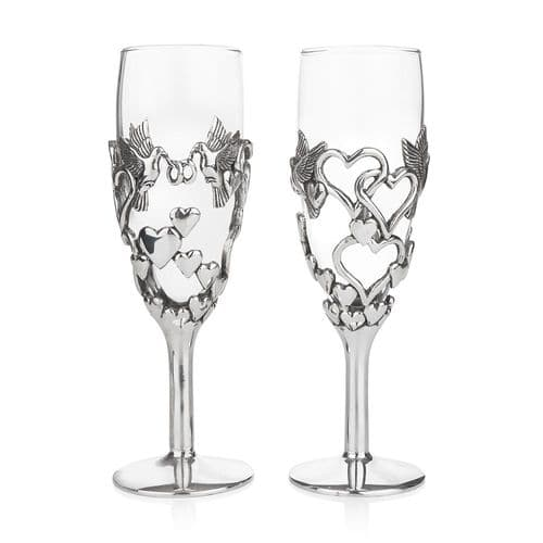 Lovebirds Champagne  Glass Pair