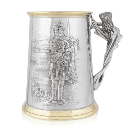Piper Brass Tankard with Thistle Handle