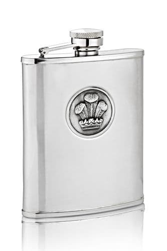 Prince Of Wales Feathers Hip Flask