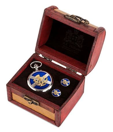 Saltire and Thistle Watch and Cufflinks in Trunk