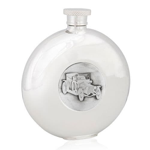 Silver Ghost Round Flask
