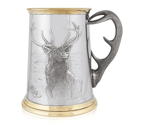 Stag Brass Tankard with Antler Handle
