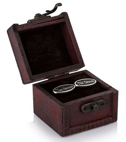 The Groom Cufflinks in Wooden Trunk