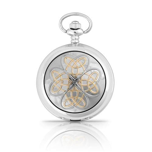 Two Tone Entwined Love Knot Pocket Watch