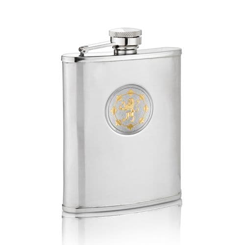 Two Tone Rampant Lion Hip Flask