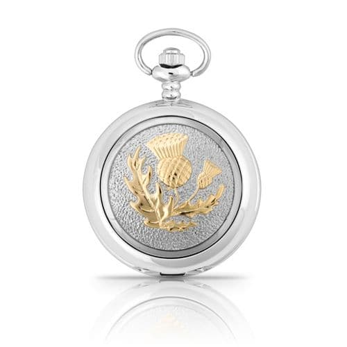 Two Tone Scottish Thistle Mechanical Pocket Watch