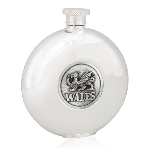 Welsh Dragon Wales Round Flask