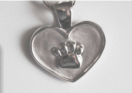 Lisa Welch Solid Silver Dog Paw Print on Heart Necklace