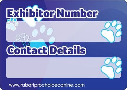 Dog Show Standard Cage/Crate ID Identification Sign / Plaque