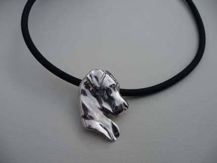 Solid Silver Great Dane Head on Rubber Necklace