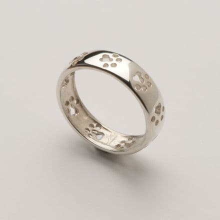 Solid Gold Cut Out Paw Print Wedding Band Ring (Photo in silver only)