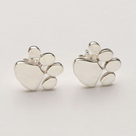 Solid Gold Dog Paw Print Earrings (Photo in Silver only)
