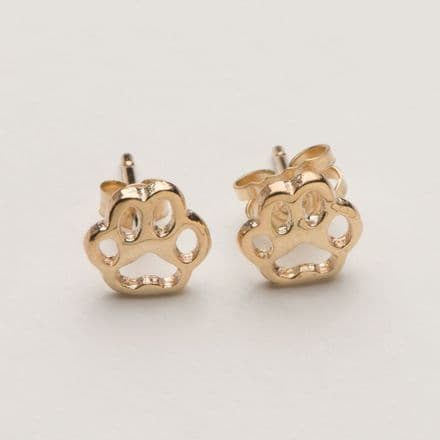 Solid Gold Dog Paw Print Thick Filagree Rounded Earrings
