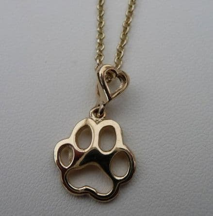 Solid Gold Filigree Dog Paw Print Necklace with Heart Bail