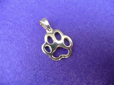Solid Gold Filigree Dog Paw Print Necklace with Standard Bail