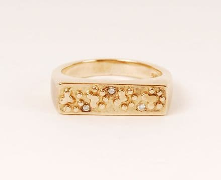 Solid Gold Flat Top Paw Print Ring